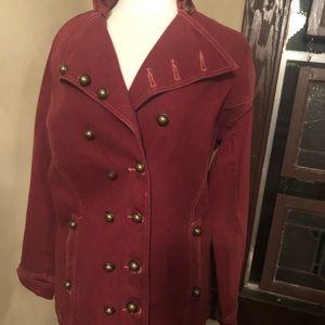 Burgundy double breasted denim jacket